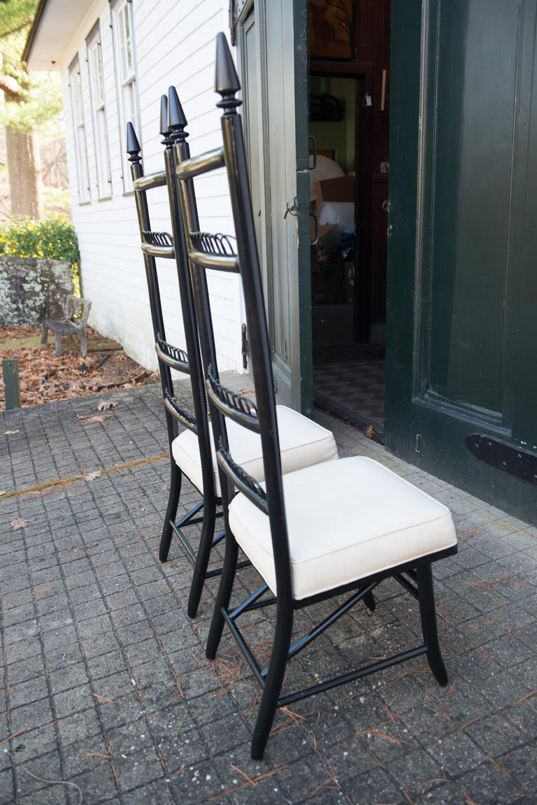 Pair of High Ladder Back Chairs For Sale 5