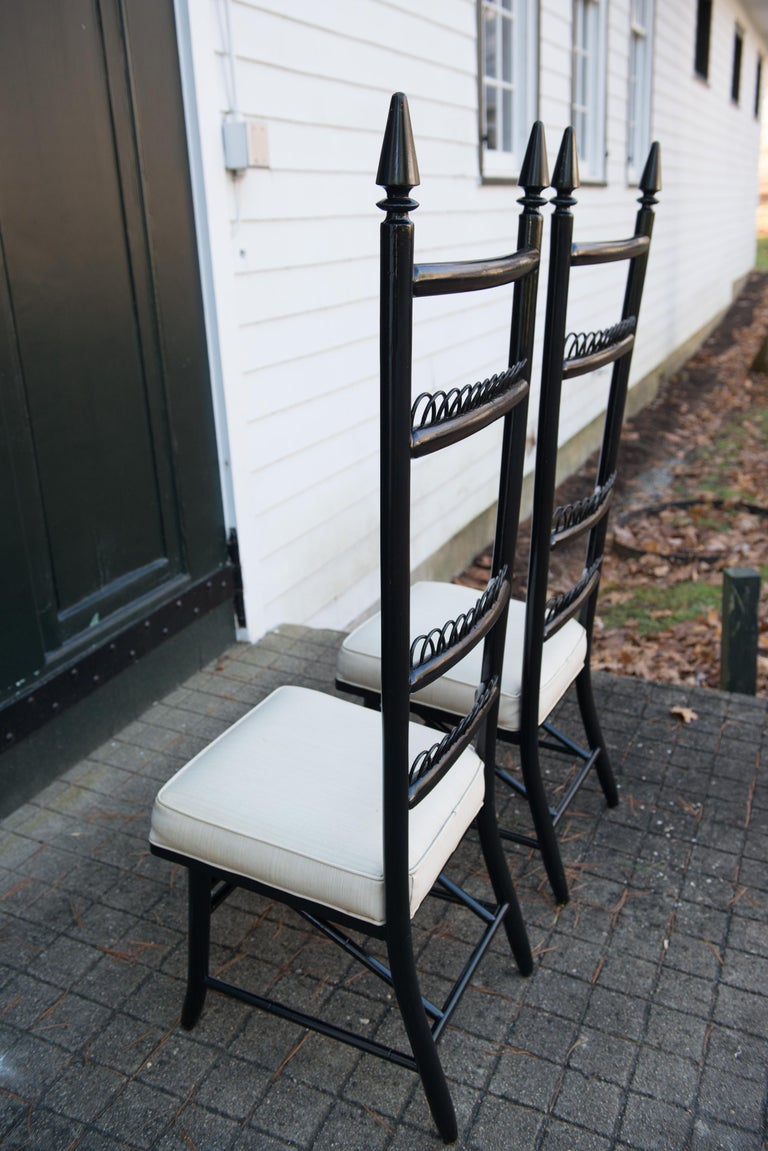 Pair of High Ladder Back Chairs For Sale 6