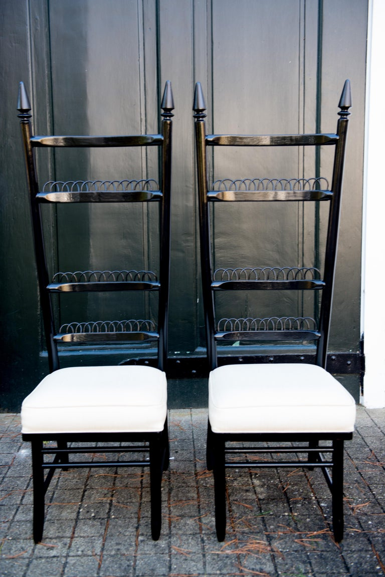 European Pair of High Ladder Back Chairs For Sale
