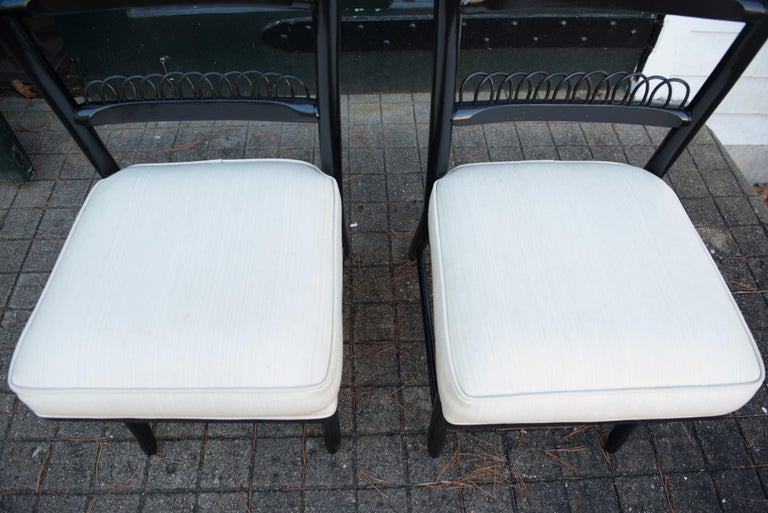 Wood Pair of High Ladder Back Chairs For Sale