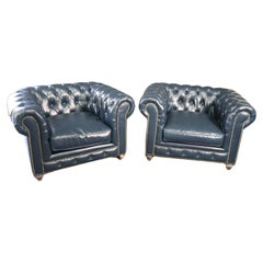 Pair High Quality Genuine Top Grain Leather Chesterfield Club Chairs Navy Blue
