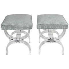 Pair of Hollis Jones Style Lucite U-Benches
