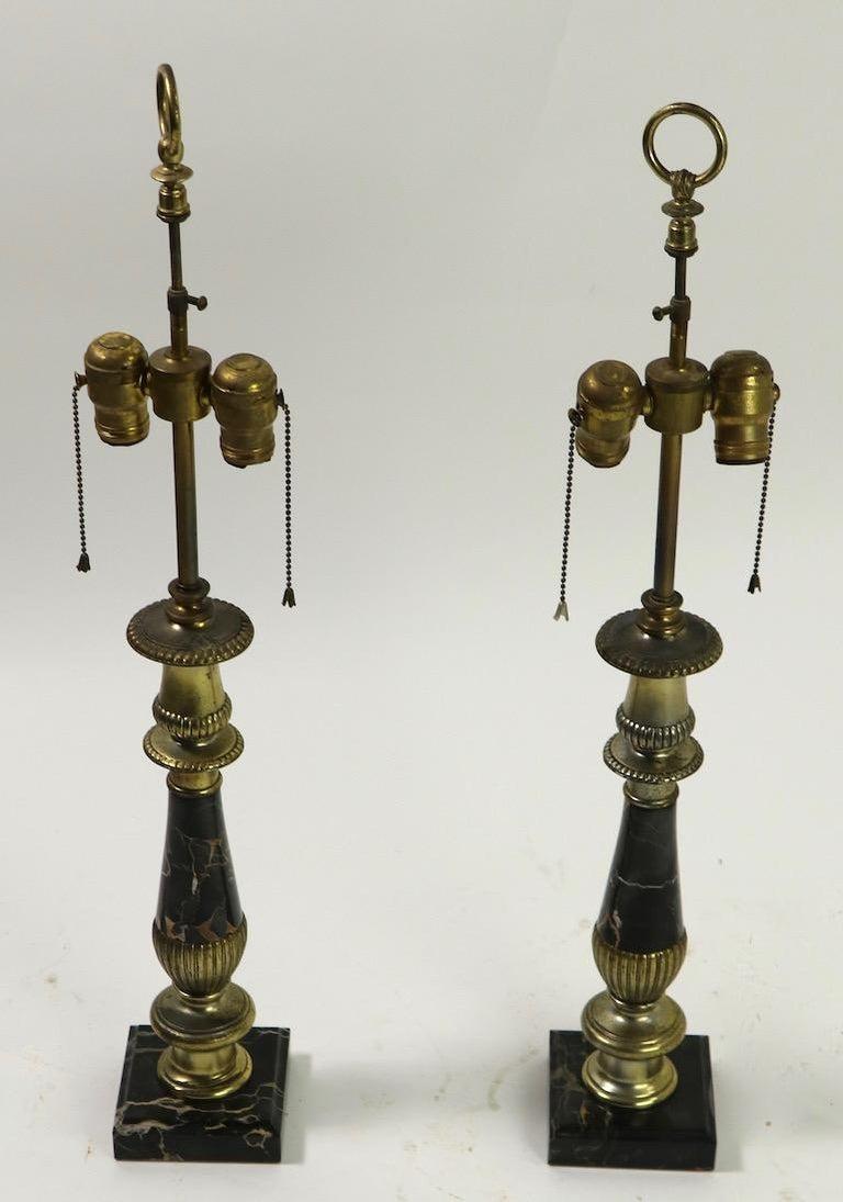 American Pair of Hollywood Regency Black Marble Table Lamps