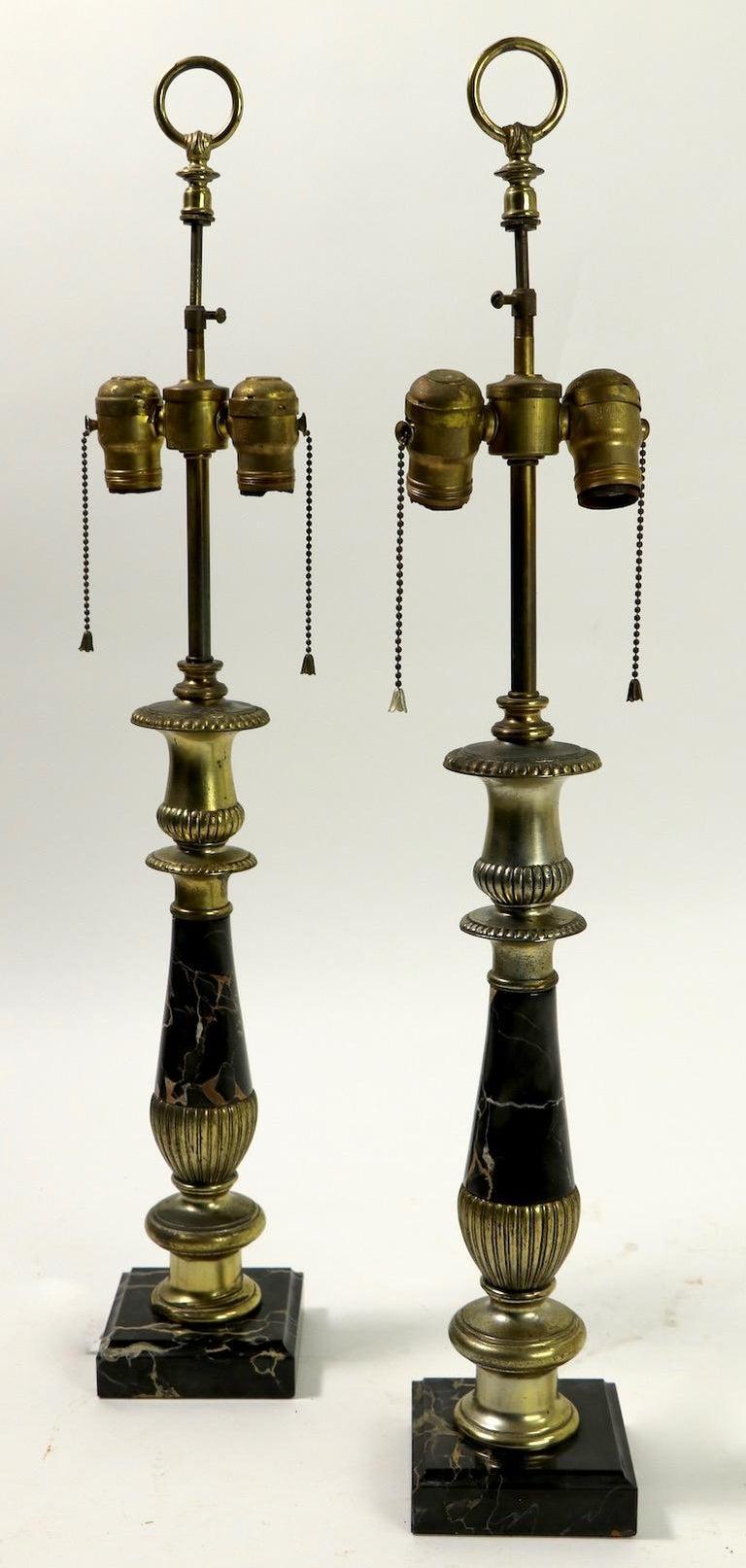 Pair of Hollywood Regency Black Marble Table Lamps 1