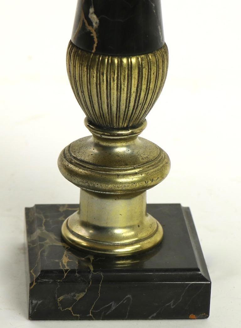 Pair of Hollywood Regency Black Marble Table Lamps 2