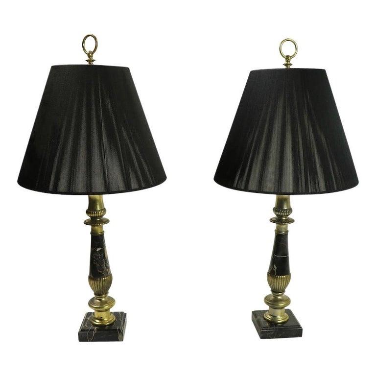 Pair of Hollywood Regency Black Marble Table Lamps