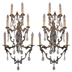 Pair of Hollywood Regency Brass and Crystal Sconces