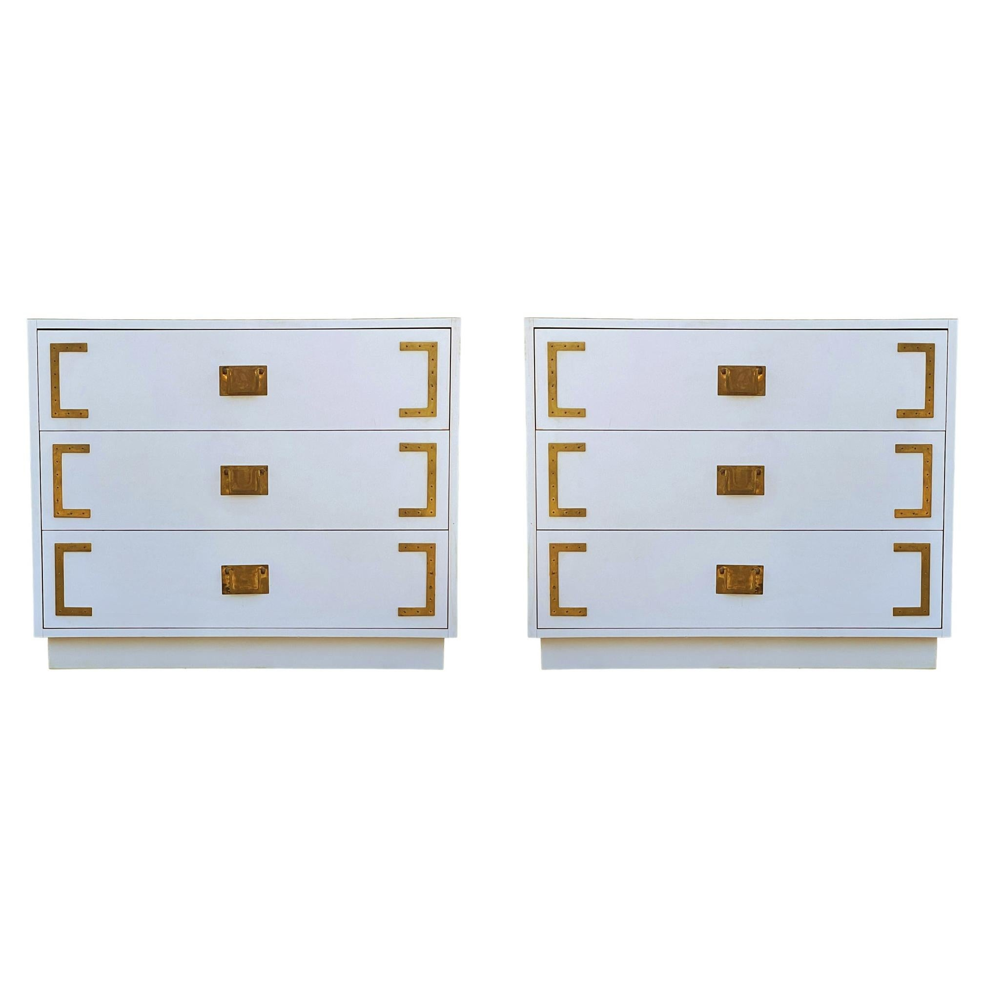 Pair Hollywood Regency Campaign Chests, Nightstands or Commodes in White & Brass