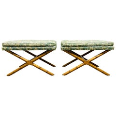 Pair Hollywood Regency Faux Bamboo X-Benches