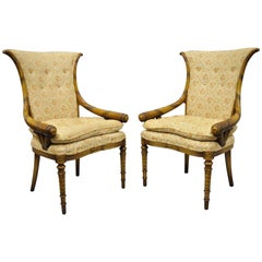 Pair Hollywood Regency French Cornucopia Hiprest Chairs after Grosfeld House