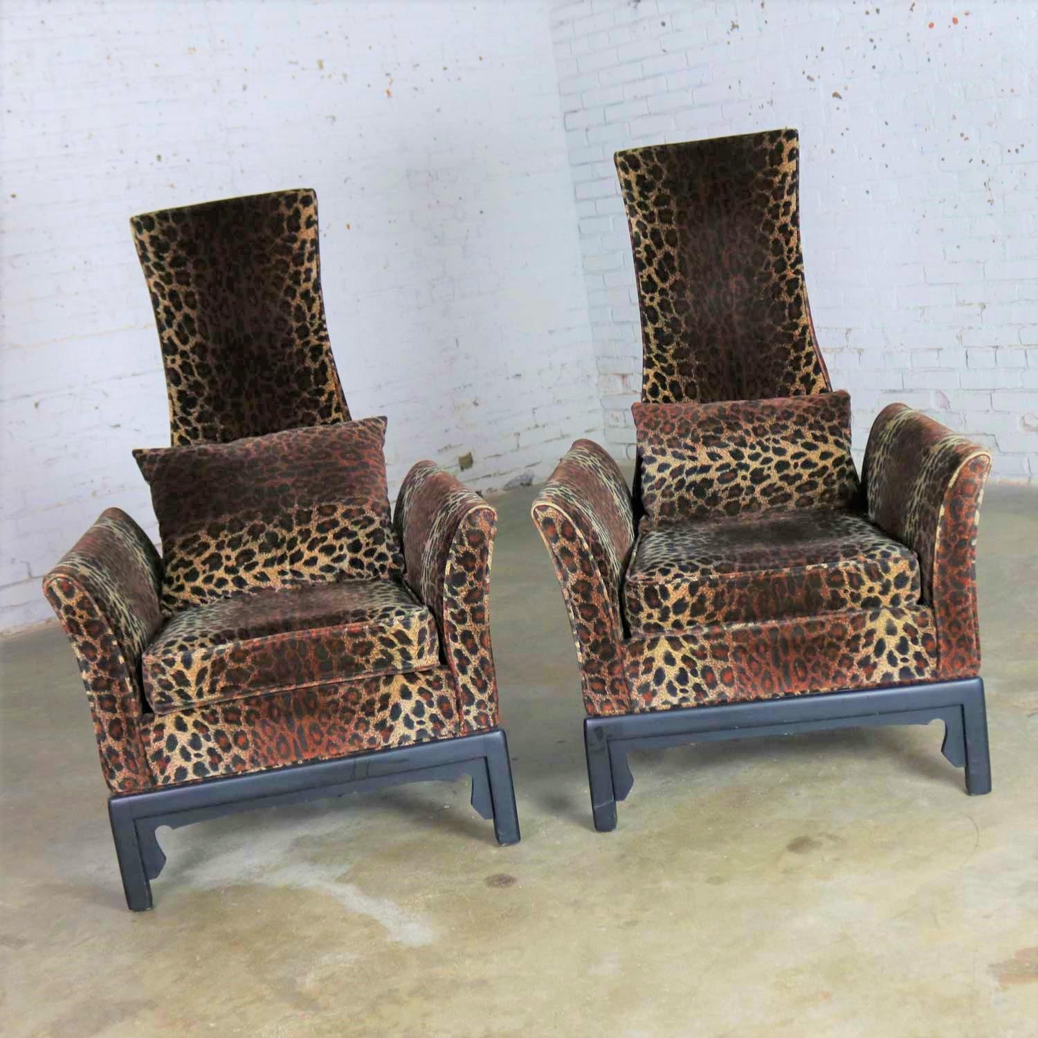 Hollywood Regency High Back Chairs Velvet Animal Print Style Of James Mont,  Pair