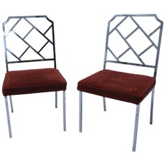 Pair of Hollywood Regency Stainless Chippendale Chairs with Velvet Seats