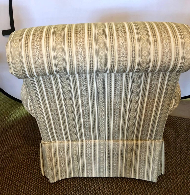 Pair of Hollywood Regency Style Custom Overstuffed Arm/Lounge Chairs Fine Fabric For Sale 2