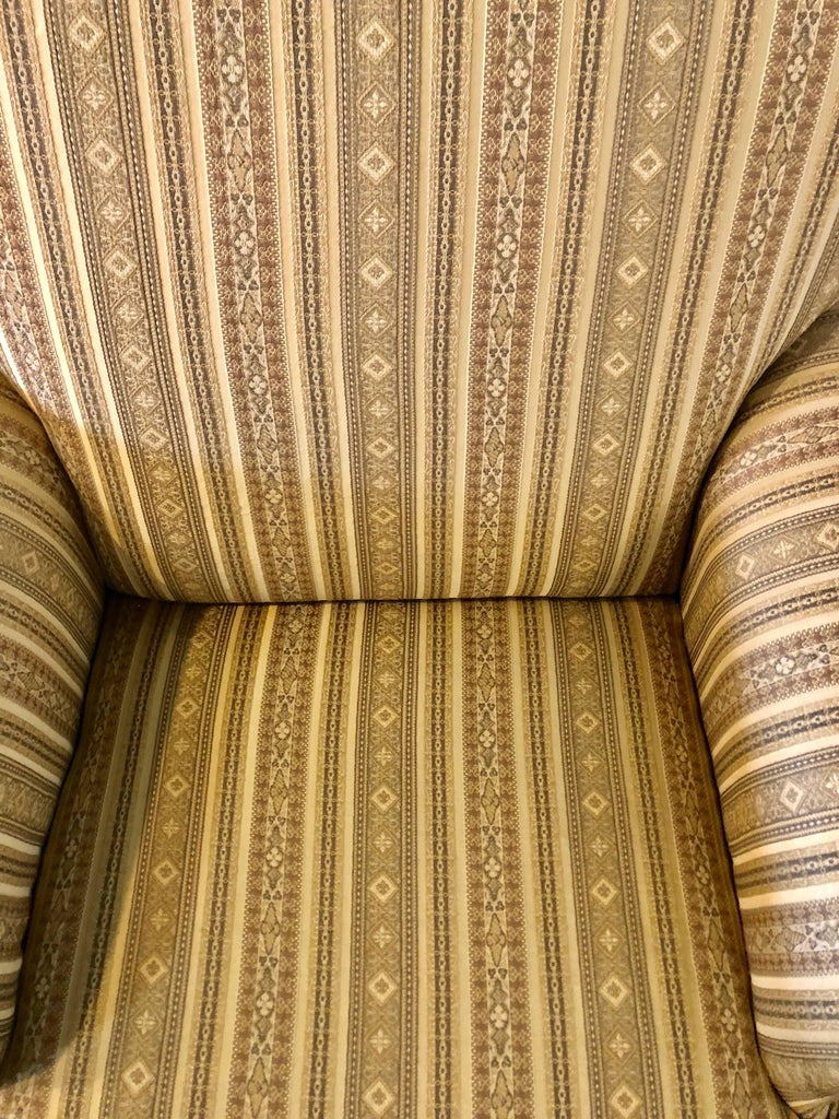 Pair of Hollywood Regency Style Custom Overstuffed Arm/Lounge Chairs Fine Fabric For Sale 4