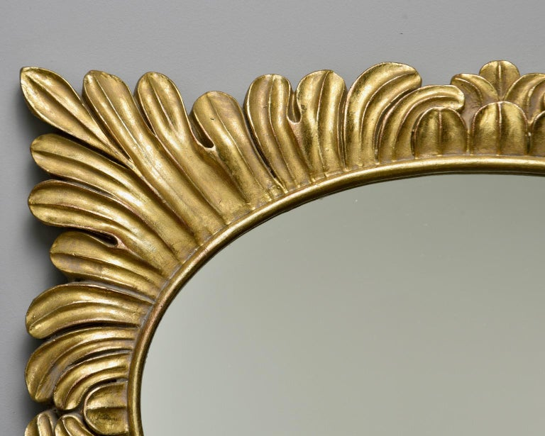 Pair Hollywood Regency Style Gilt Framed Mirrors For Sale 5