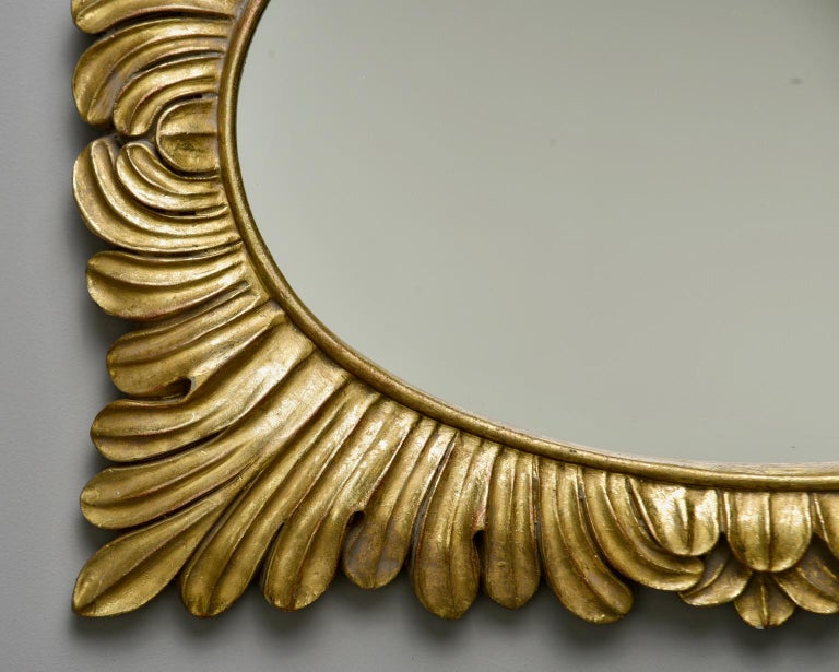Pair Hollywood Regency Style Gilt Framed Mirrors For Sale 6