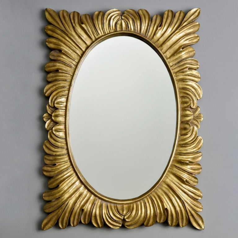 Pair Hollywood Regency Style Gilt Framed Mirrors For Sale 8
