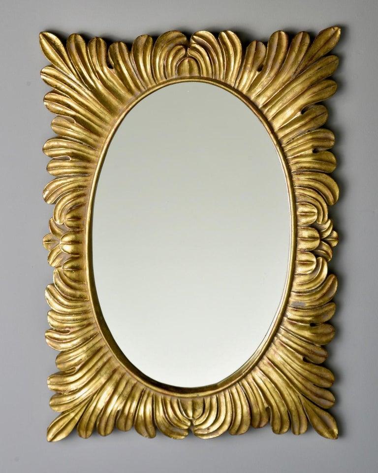 Pair Hollywood Regency Style Gilt Framed Mirrors For Sale 1