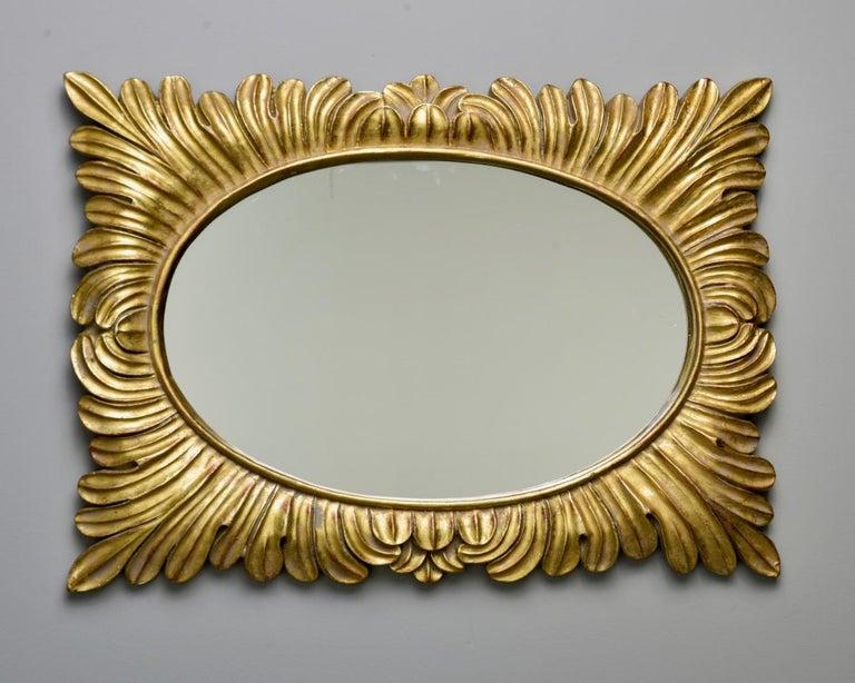 Pair Hollywood Regency Style Gilt Framed Mirrors For Sale 2