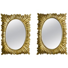 Pair Hollywood Regency Style Gilt Framed Mirrors