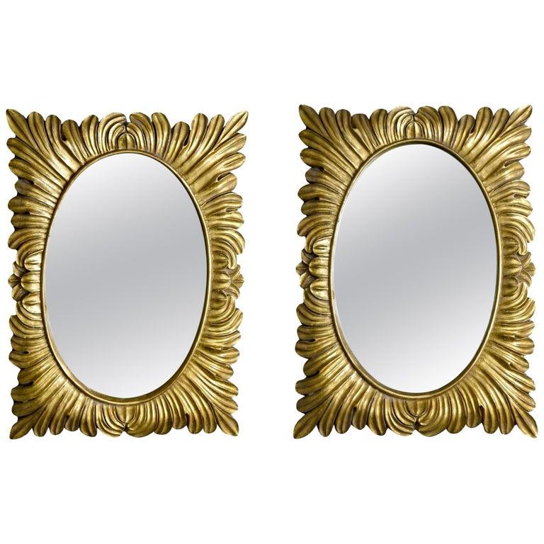 Pair Hollywood Regency Style Gilt Framed Mirrors For Sale