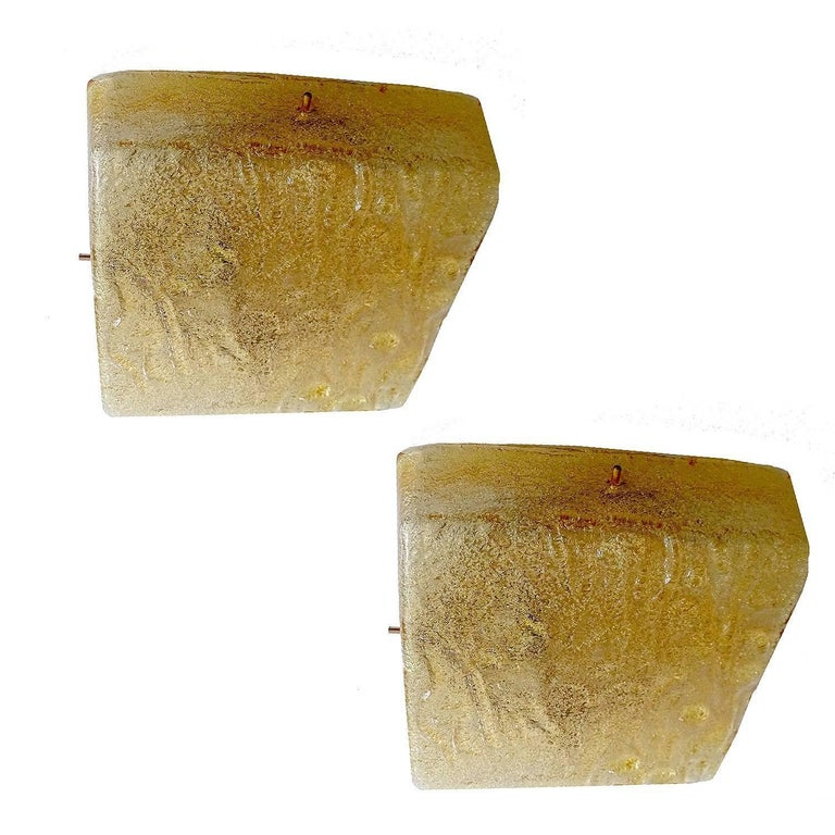Pair of Honsel Murano Glass Sconces, 1960s, Style of Vistosi Seguso