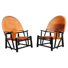"""Pair Hoop"""" Lounge Chairs by Piero Palange and Werther Toffoloni for Germa 1970"""