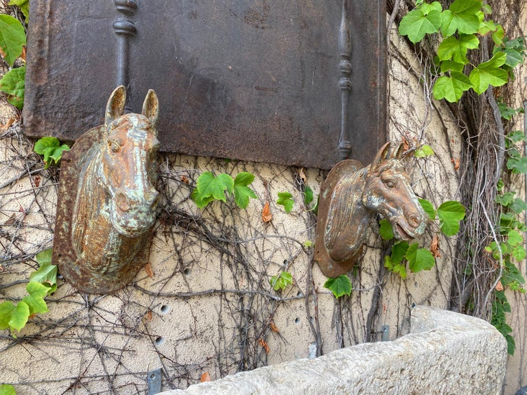 Charming pair of horse head with beautiful rustic patina finish with a wall mount back plate plaque attached. A very nice sculpture that could be placed on the pillars of an entrance. Whimsical Art pieces wall mount horse head trade sign. The
