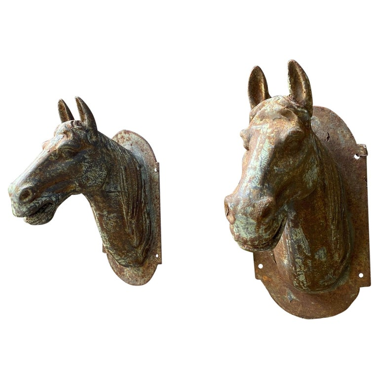 Horse Head Sculpture Wall Mount Decorative Plaques Antiques Los Angeles CA, Pair For Sale