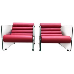 Pair of Hyaline Red Chair Lounge Glass and Leather, 1972