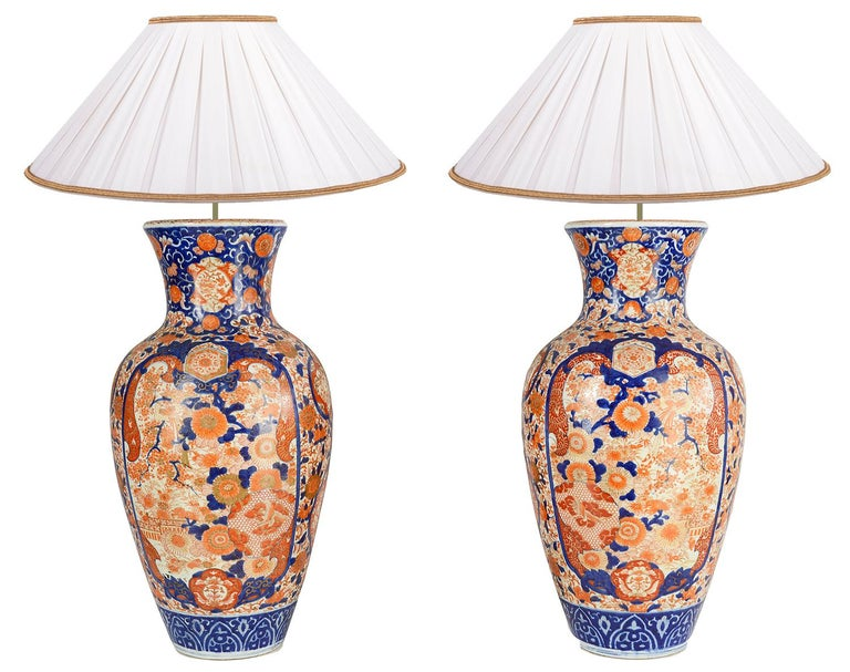 Hand-Painted Pair Impressive 19th Century Japanese Imari Vases or Lamps For Sale