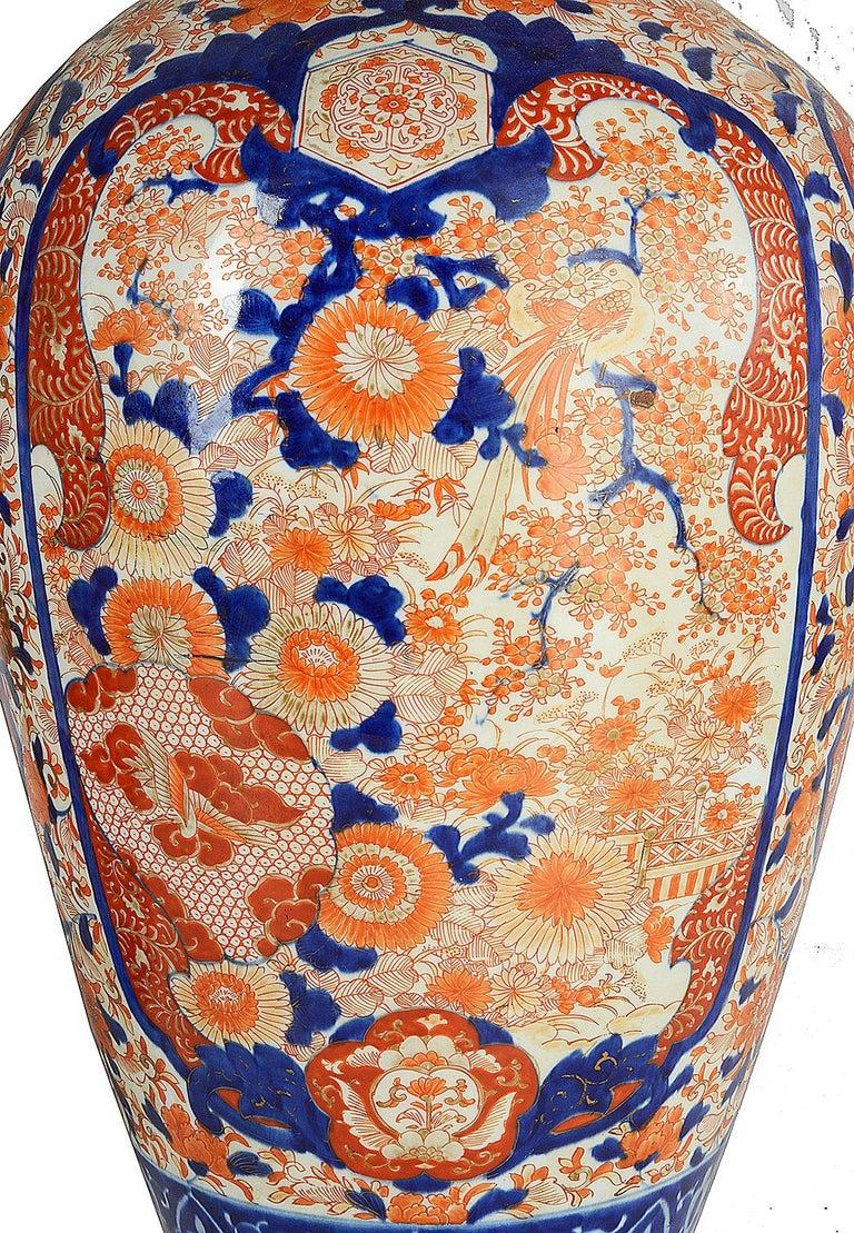 Pair Impressive 19th Century Japanese Imari Vases or Lamps In Good Condition For Sale In Brighton, Sussex