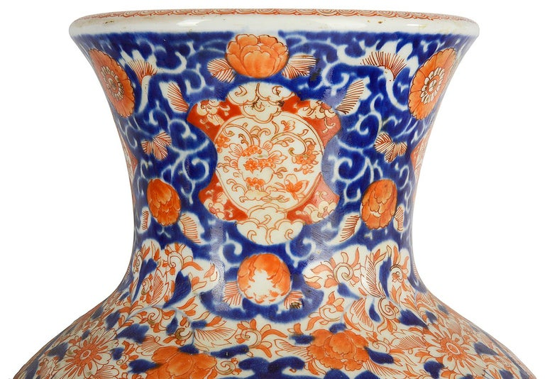 Porcelain Pair Impressive 19th Century Japanese Imari Vases or Lamps For Sale