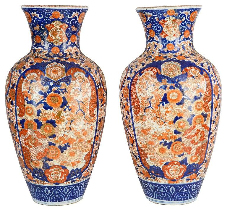 Pair Impressive 19th Century Japanese Imari Vases or Lamps For Sale 3