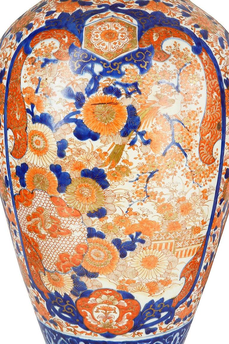 Pair Impressive 19th Century Japanese Imari Vases or Lamps For Sale 4