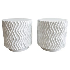 Pair Incised Plaster Cylindrycal Pedestal End Tables