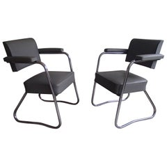 Pair of Industrial Bauhaus Armchairs Chrome and Grey Leatherette