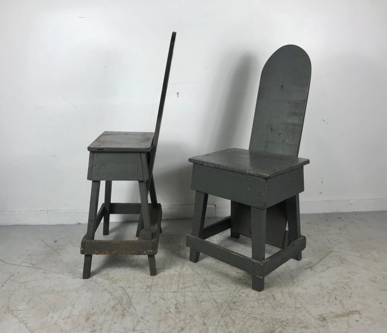 Unusual handmade factory task chairs, late 1920s, early 1930s. Retain original gray painted surface. Wonderful patina. Nice design.