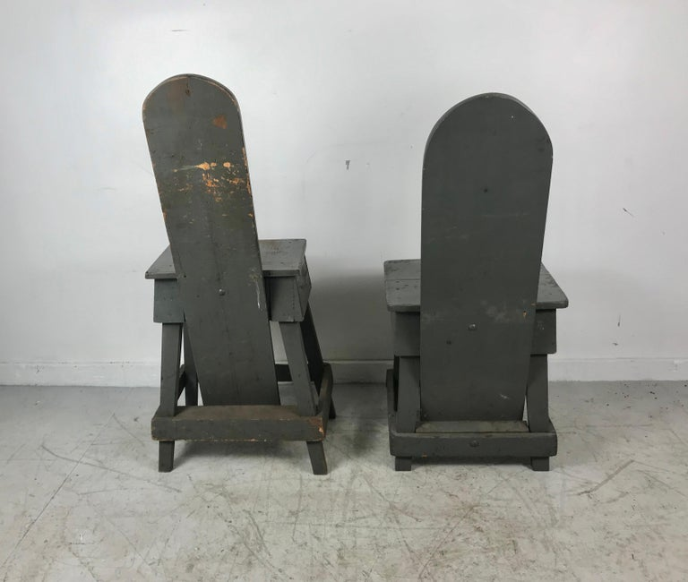 Wood Pair of Industrial Bench Made