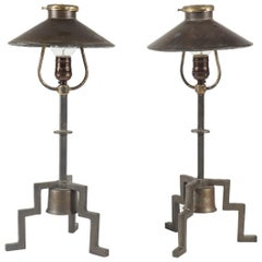 Pair of Industrial Footed Lamps with Mirrored Shades