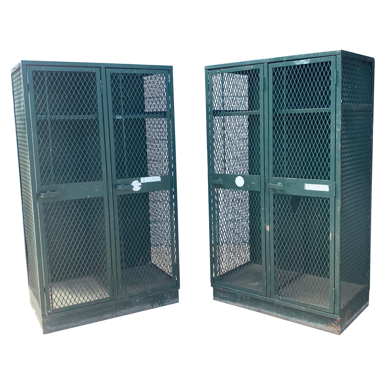 Pair Industrial Metal / Steel Cage, Mesh Lockers, Cabinets, Storage