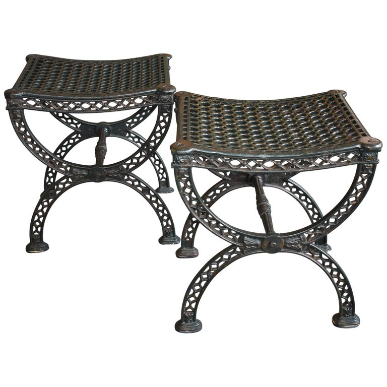 Superb Pair Of Industrial Style Iron Stools Bench Turn Of The Century Caraccident5 Cool Chair Designs And Ideas Caraccident5Info