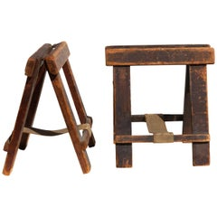 Pair of Industrial Table Top Folding Sawhorse