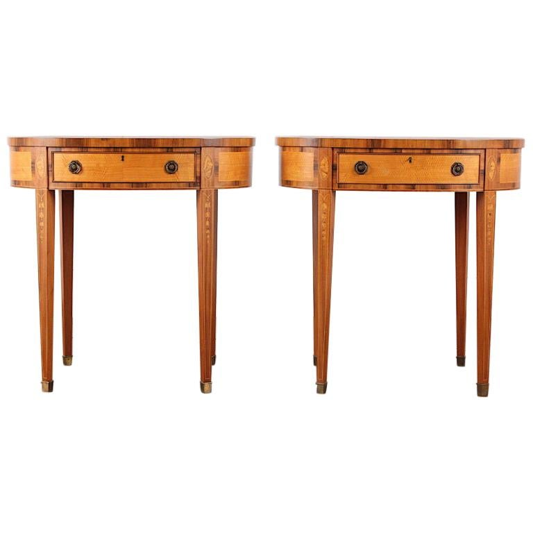 Pair of Inlaid Sheraton Style Oval Marble Top Side Tables End Tables Nightstands