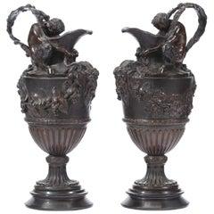 Pair iof French Patinated Bronze Urn Ewers, 19th Century