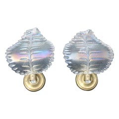 Pair Iridescent Wall Sconces Italian Design Mid-Century Leaves, 1940s