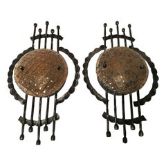 Pair of Iron and Glass Large Sculptural Brutalist Style Sconces