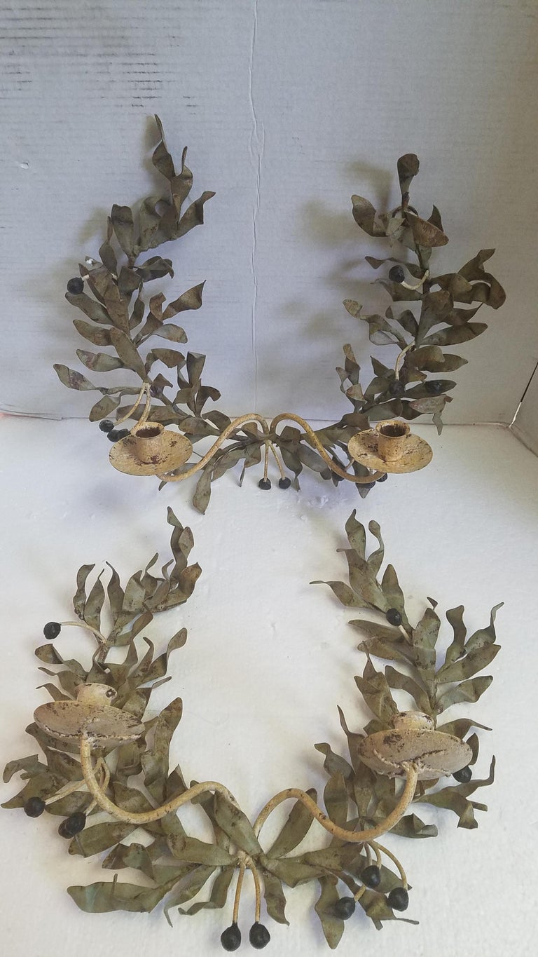 Pair of Iron Candle Sconces For Sale 3