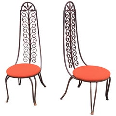 Pair of Iron High Back Chairs in the Style of Salterini