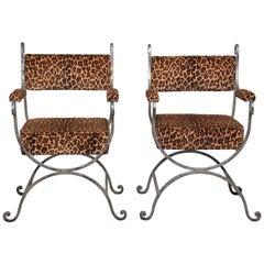Pair Iron Savonarola Chairs with Leopard Print Upholstery